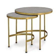 Wells Faux Shagreen 2 Piece Nesting Tables by Palecek