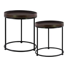 Wood Round 2 Piece Nesting Tables