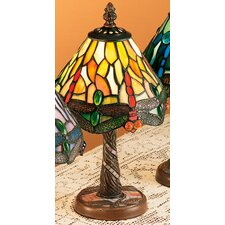 "Scarlet Art Glass Tiffany Hanging Head Dragonfly 12"" Table Lamp"