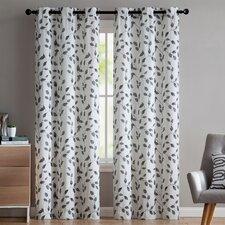 Loraine Nature/Floral Semi-Sheer Grommet Curtain Panels (Set of 2)