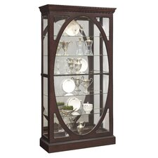 Beckman Oval Framed Mirrored Standard Curio Cabinet
