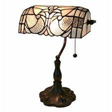 """Tiffany Floral Banker 13"""" Desk Lamp"""
