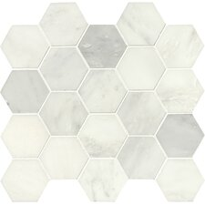 """Greecian Hexagon Polished 3"""" x 3"""" Marble Mosaic Tile in White (Set of 10)"""