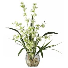 Liquid Illusion Dancing Lady Silk Orchids in Green with Vase