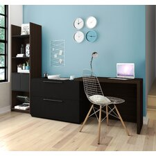 Small Space 2 Piece Sliding Computer Desk and Storage Tower Set