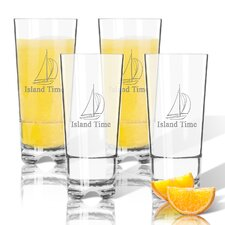 Personalized Sailboat Tritan 16 oz. High Ball Glass (Set of 4)