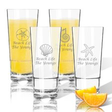 Personalized 4 Piece Shell Tritan 16 oz. High Ball Glass