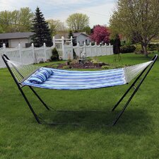 Quilted Double Fabric 2-Person Hammock with Stand