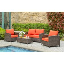 Petunia 4 Piece Deep Seating Group with Cushion