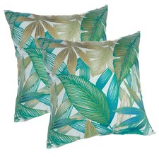 Tropical Leaves Print Decorative Indoor/Outdoor Throw Pillow (Set of 2) by Klear Vu