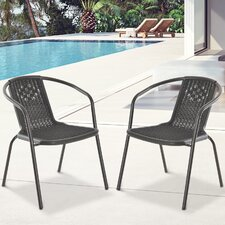 Plastic Rattan Effect Stacking Armchair (Set of 2)