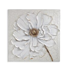 Plaster Floral Hand Paint Effect Canvas Wall Décor