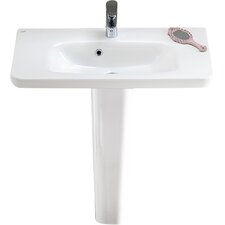 "Noura 32"" Pedestal Bathroom Sink with Overflow"