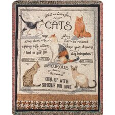 What We Learn from Cats Tapestry Cotton Throw