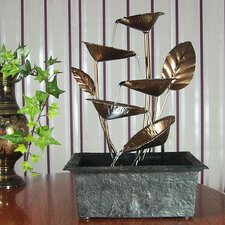 Metal Cascading 5 Leaves Tabletop Fountain with Light