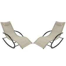Rocking Wave Chaise Lounge with Pillow (Set of 2)