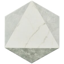 "Karra 7"" x 8"" Porcelain Mosaic Tile in White/Gray"