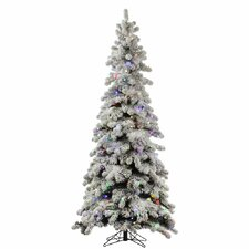Flocked Kodiak 5' White Spruce Artificial Christmas Tree with 285 LED Multi-Colored Lights