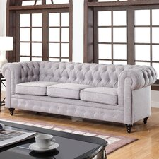 House Of Hampton Solstice Classic Tufted Linen Fabric Chesterfield Sofa  Image