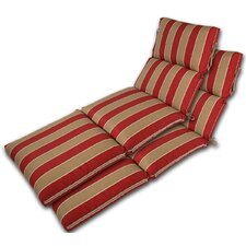 Channeled Reversible Outdoor Chaise Lounge Cushion (Set of 2)