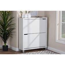 12-Pair White Shoe Storage Cabinet