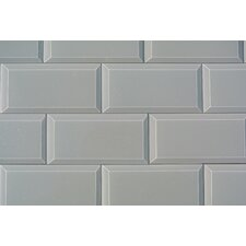 "Frosted Elegance 3"" x 6"" Glass Subway Tile in Glossy Gray"