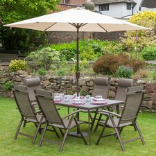 Florence 6 Seater Dining Set with Parasol