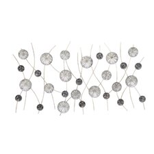 Silver and Black Metal Floral Wall Décor