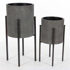 Durable Metal 2 Piece Pot Planter Set