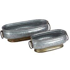 Durable Oval 2 Piece Metal Pot Planter Set
