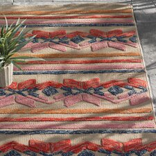 Mayan Star Hand-Tufted Poppy Red / Carnation Pink Indoor/Outdoor Area Rug