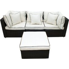 Burruss Wicker 4 Piece Sofa Set with Cushions