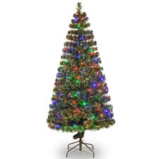 """Fiber Optics Evergreen 6"""" Green Artificial Christmas Tree with 200 LED Multi Lights and Stand"""
