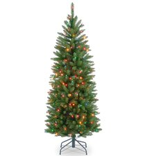 4.5' Green Fir Pencil Artificial Christmas Tree with Multi-Colored Lights with Stand
