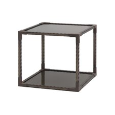 Smoked Tempered Glass Square End Table by Annibale Colombo