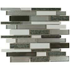 Charisma Linear Glass Stone Blend Mosaic Tile in Gunmetal