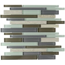 Oceano Linear Glass Stone Blend Mosaic Tile in Tahiti