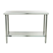 """48""""W Adjustable Height Stainless Steel Top Workbench"""