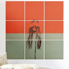 'The Red Wolf Woman Color 2' Graphic Art Print Multi-Piece Image on Wood