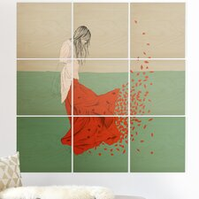 'The Red Wolf Woman Color 9' Graphic Art Print Multi-Piece Image on Wood
