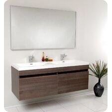 Senza 57 Double Bathroom Vanity Set with Mirror by Fresca