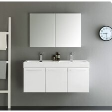 Senza 48 Vista Double Wall Mounted Modern Bathroom Vanity Set with Mirror by Fresca