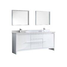 "Trieste Allier 72"" Double Bathroom Vanity Set with Mirror"