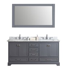 "Lucia 72"" Double Sink Bathroom Vanity Set with Mirror"