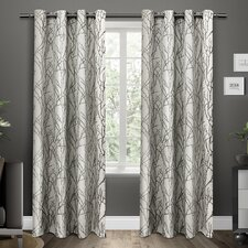 Guadalupe Nature/Floral Semi-Sheer Grommet Curtain Panels (Set of 2)