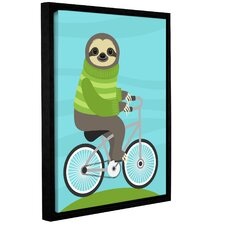 'Cycling Sloth'  Framed Graphic Art Print On Canvas