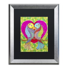 Lovebirds in Color' by Hello Angel Framed Graphic Art by Trademark Fine Art