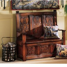 Historic Monk's Storage Wood Entryway Bench by Design Toscano