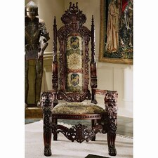 The Lord Raffles Lion Throne Fabric Armchair by Design Toscano