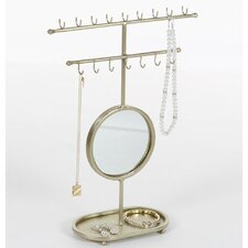 Golden Gleaming Mirror Jewelry Holder